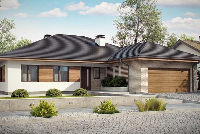 КР014 - Одноэтажный Каркасные дома с гаражом