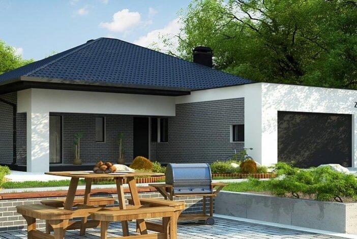 кп016 - Одноэтажный Кирпичные дома без гаража