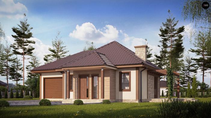 КР024 - Одноэтажный Каркасные дома с гаражом