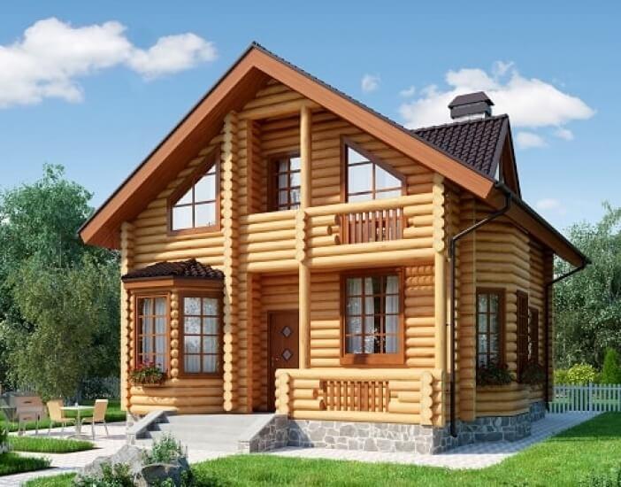 БВ004 - Двухэтажный Дома из бревна без гаража