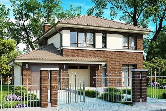 БК003 - Двухэтажный Дома из блоков с гаражом