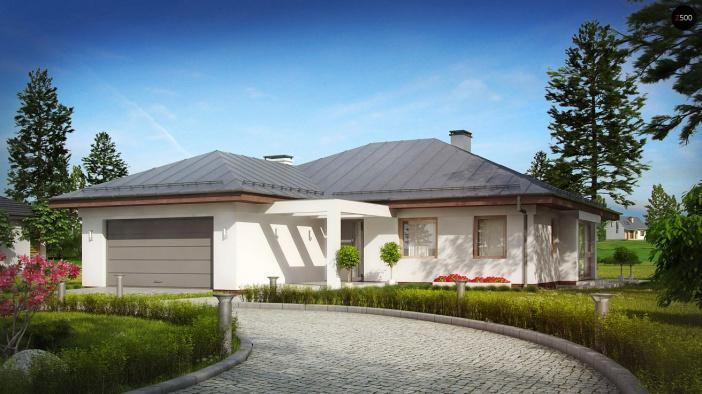 КР028 - Одноэтажный Каркасные дома с гаражом