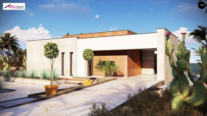КР025 - Одноэтажный Каркасные дома с гаражом