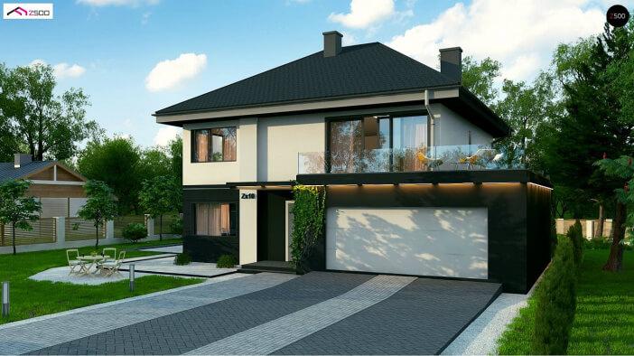 БК027 - Двухэтажный Дома из блоков с гаражом