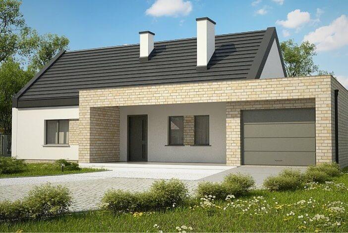 кп008 - Одноэтажный Кирпичные дома с гаражом