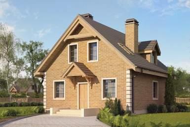 кп011 - Мансардный Кирпичные дома без гаража