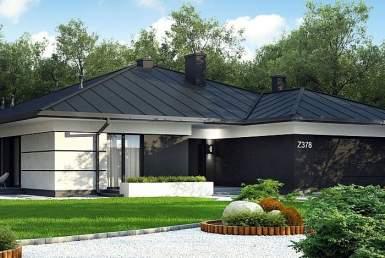 БК002 - Одноэтажный Дома из блоков с гаражом