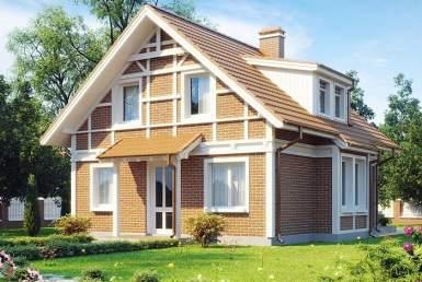 кп019 - Мансардный Кирпичные дома без гаража