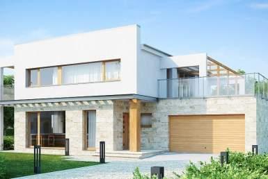 БК011 - Двухэтажный Дома из блоков с гаражом