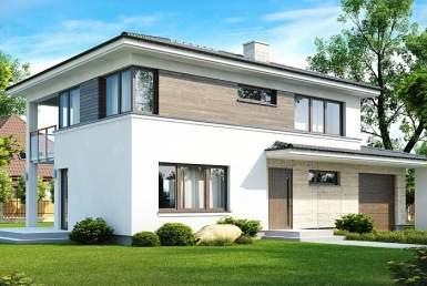 БК013 - Двухэтажный Дома из блоков с гаражом