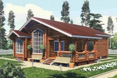 БВ002 - Одноэтажный Дома из бревна без гаража