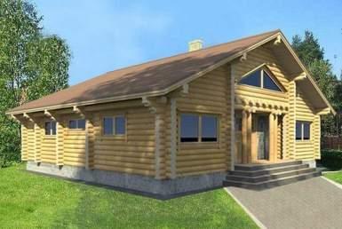 БВ009 - Мансардный Дома из бревна без гаража