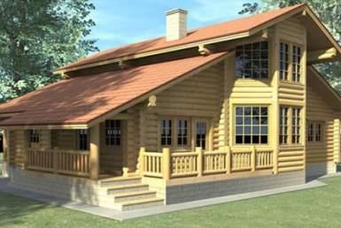 БВ014 - Мансардный Дома из бревна без гаража
