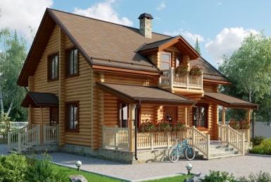 БВ015 - Двухэтажный Дома из бревна без гаража