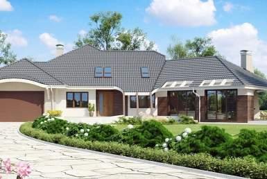 БК015 - Мансардный Дома из блоков с гаражом