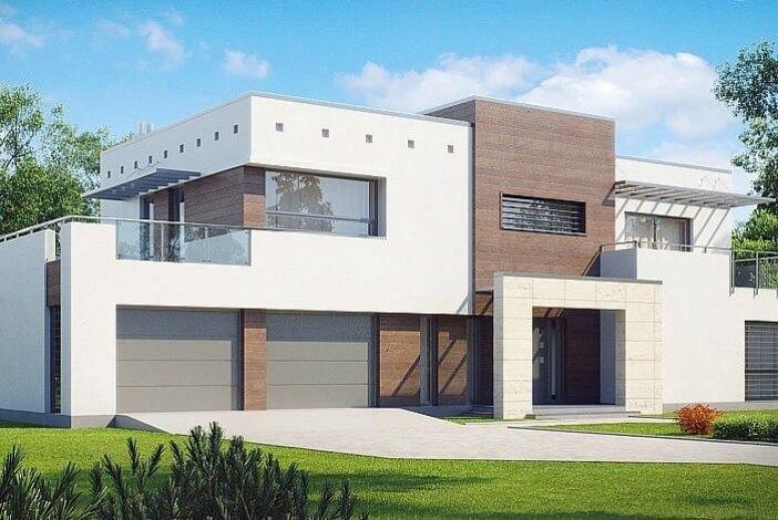 БК017 - Двухэтажный Дома из блоков с гаражом