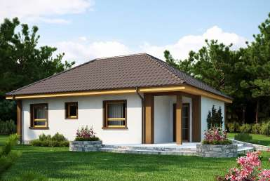 КР022 - Одноэтажный Каркасные дома без гаража