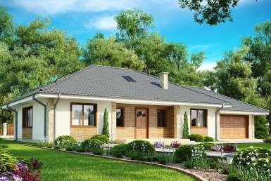 КР027 - Одноэтажный Каркасные дома с гаражом
