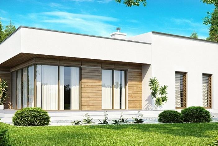 БК004 - Одноэтажный Дома из блоков без гаража