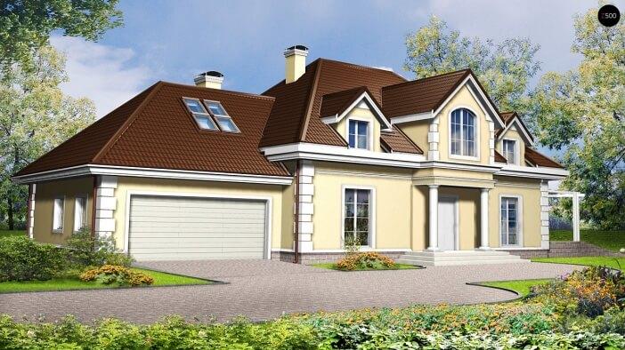 БК019 - Мансардный Дома из блоков с гаражом