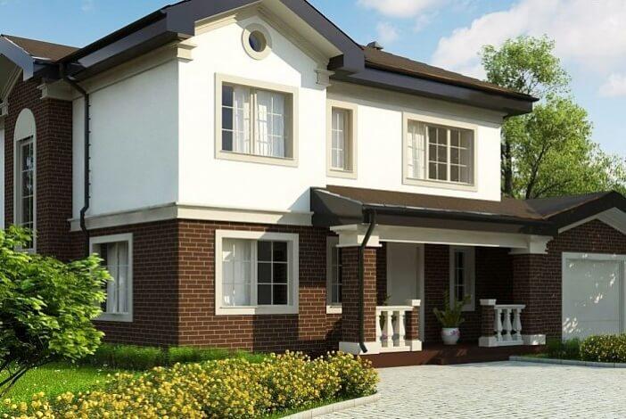 БК012 - Двухэтажный Дома из блоков без гаража