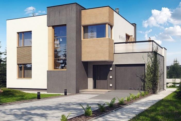 БК005 - Двухэтажный Дома из блоков с гаражом