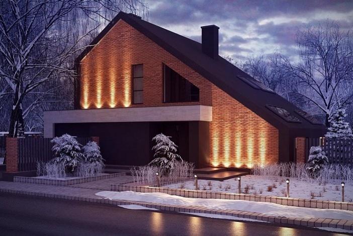 кп018 - Мансардный Кирпичные дома без гаража