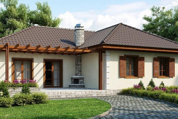 БК014 - Одноэтажный Дома из блоков без гаража