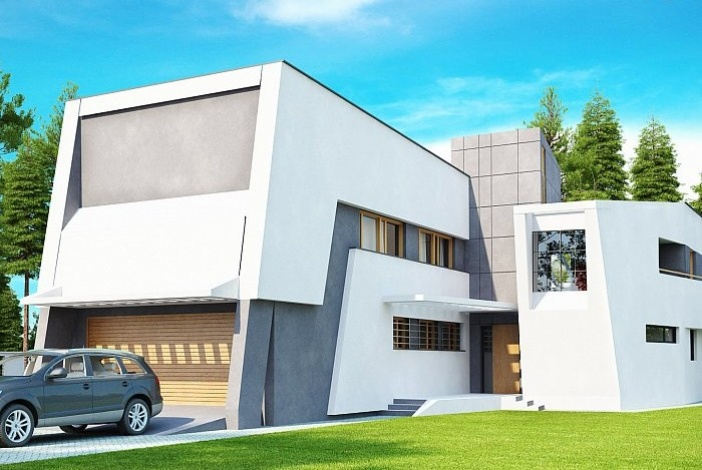 БК020 - Двухэтажный Дома из блоков с гаражом