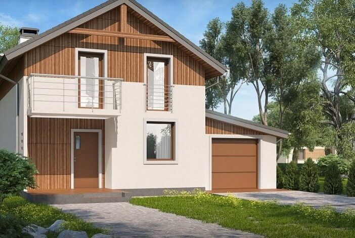 БР001 - Двухэтажный Дома из бруса с гаражом