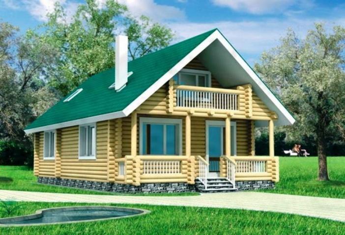 БВ013 - Мансардный Дома из бревна без гаража