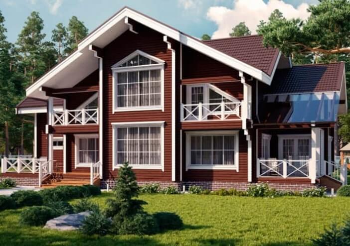 БВ008 - Двухэтажный Дома из бревна без гаража