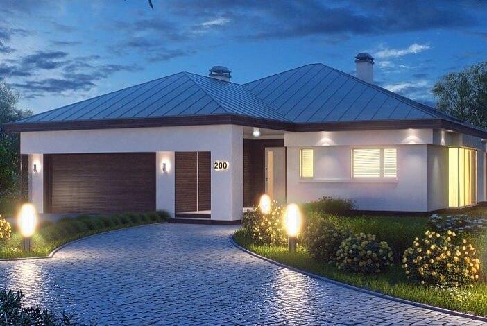 КР010 - Одноэтажный Каркасные дома с гаражом