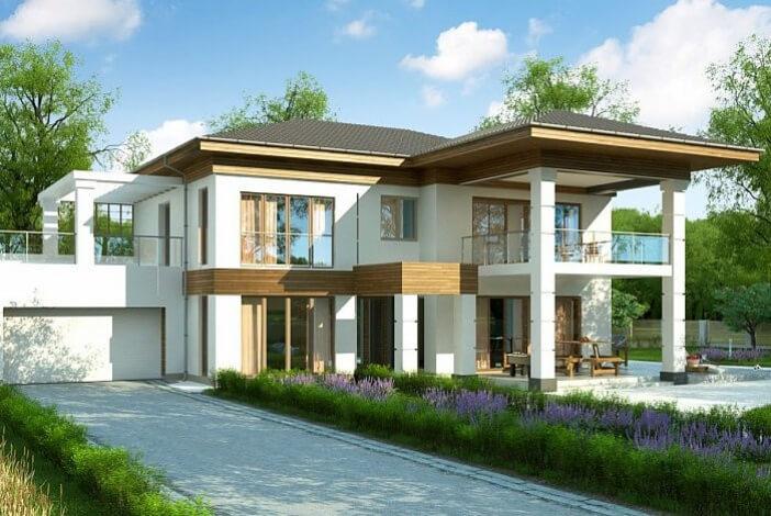 БК022 - Двухэтажный Дома из блоков с гаражом