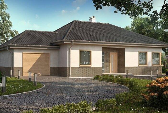 КР005 - Одноэтажный Каркасные дома с гаражом