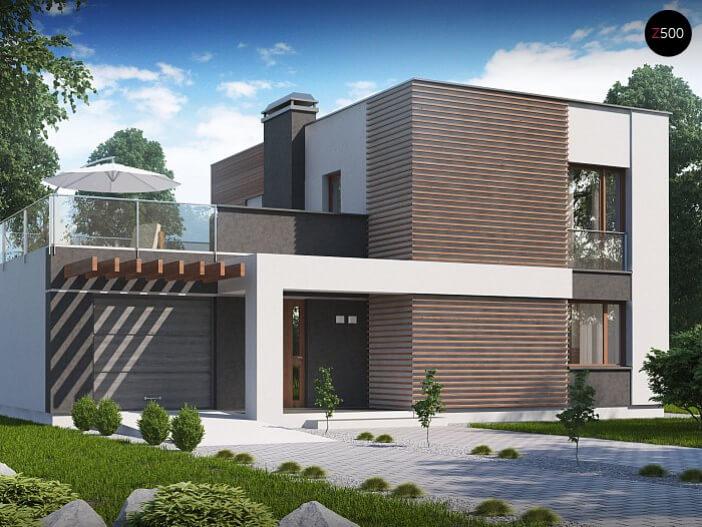 БК025 - Двухэтажный Дома из блоков с гаражом